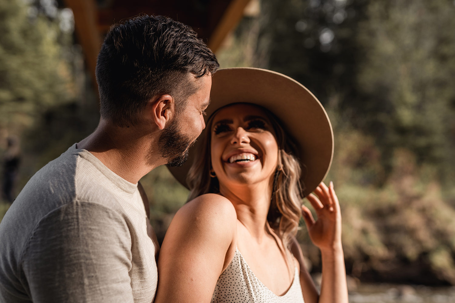 engagement photo, girl smiles at fiancee
