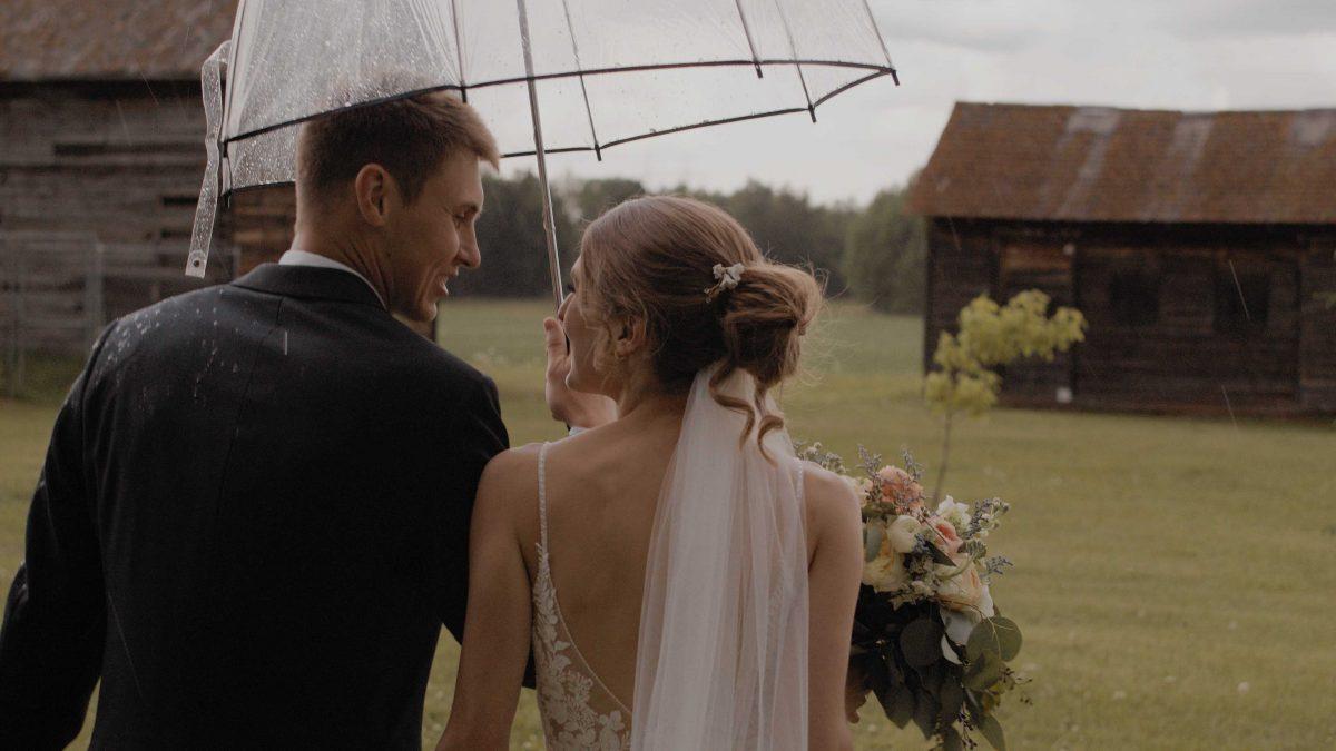 couple walking in rain with umbrella